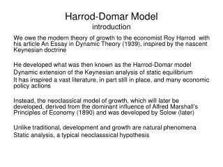Harrod -Domar Model introduction