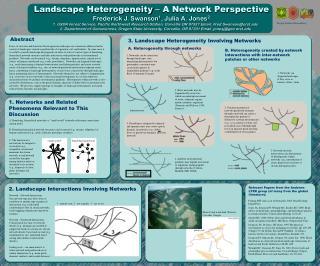 Landscape Heterogeneity – A Network Perspective Frederick J. Swanson 1 , Julia A. Jones 2