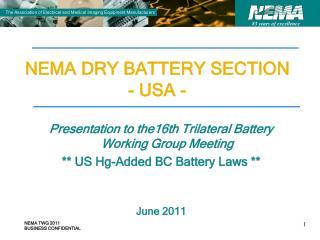 NEMA DRY BATTERY SECTION - USA -