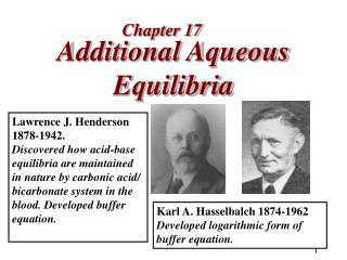 Additional Aqueous Equilibria