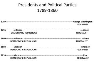 Presidents and Political Parties  1789-1860