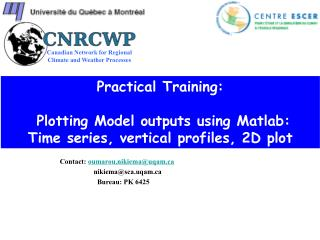 Practical Training:  Plotting Model outputs using  Matlab :