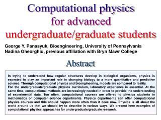 George Y. Panasyuk, Bioengineering, University of Pennsylvania
