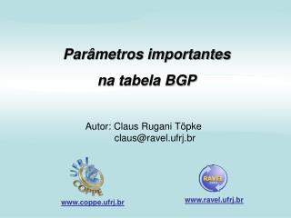 Parâmetros importantes n a tabela BGP