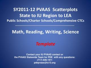 Contact your IU PVAAS contact or  the PVAAS Statewide Team for PDE  with any questions: