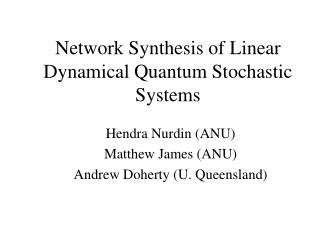 Network Synthesis of Linear Dynamical Quantum Stochastic Systems