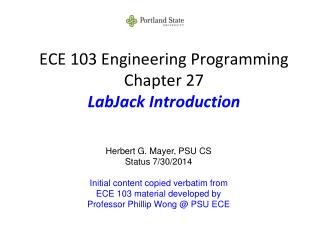 ECE 103 Engineering Programming Chapter 27 LabJack Introduction