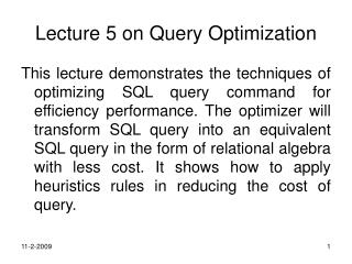 Lecture 5 on Query Optimization