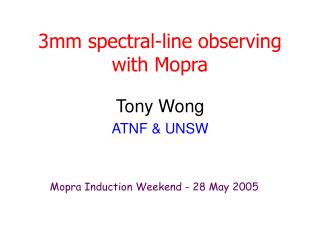 3mm spectral-line observing with Mopra