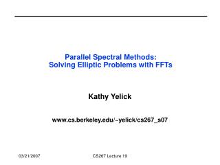 Parallel Spectral Methods: Solving Elliptic Problems with FFTs