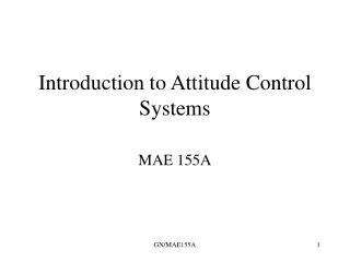 Introduction to Attitude Control Systems