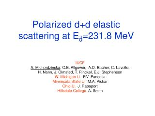 Polarized d+d elastic scattering at E d =231.8 MeV