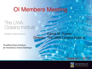 Carlos M. Duarte Director,  The UWA Oceans Institute