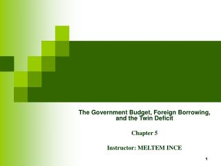 The Government Budget, Foreign Borrowing, and the Twin Deficit Chapter 5 Instructor:  MELTEM INCE