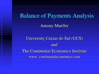 Balance of Payments Analysis