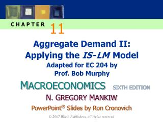 Aggregate Demand II: Applying the  IS - LM  Model  Adapted for EC 204 by Prof. Bob Murphy