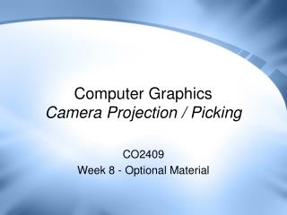 Computer Graphics Camera Projection / Picking