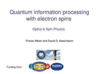 Quantum information processing  with electron spins�