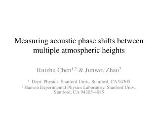 Measuring acoustic phase shifts between multiple atmospheric heights