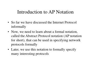 Introduction to AP Notation