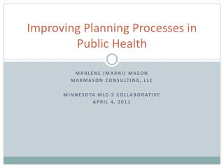 Improving Planning Processes in Public Health