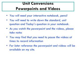 Unit Conversions Powerpoints and Videos