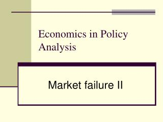 Economics in Policy Analysis