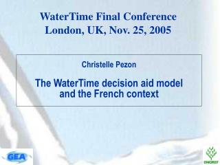 Christelle Pezon  The WaterTime decision aid model  and the French context