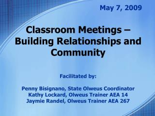 Classroom Meetings   Building Relationships and Community