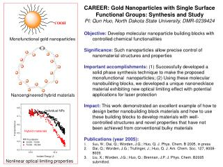 Monofunctional gold nanoparticles