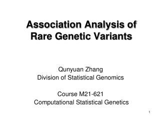 Association Analysis of Rare Genetic Variants