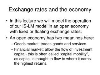 Exchange rates and the economy