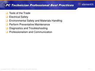 PC Technician Professional Best Practices
