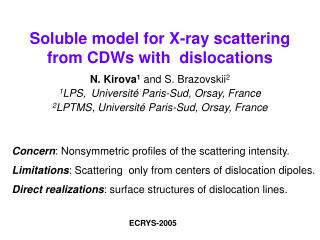 Soluble model for X-ray scattering  from CDWs with  dislocations