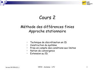Cours 2  M thode des diff rences finies  Approche stationnaire
