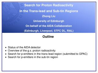 Search for Proton Radioactivity  in the Trans-lead and Sub-tin Regions Zhong Liu
