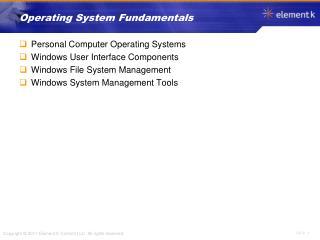 Operating System Fundamentals