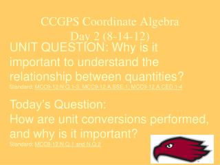 CCGPS Coordinate Algebra Day 2 (8-14-12)