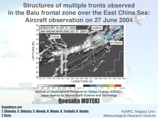 Structures of multiple fronts  observed  in  the Baiu  frontal zone over  the East China Sea: