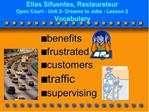Elias Sifuentes, Restaurateur Open Court - Unit 2- Dreams to Jobs - Lesson 2 Vocabulary