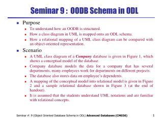 Seminar 9 :  OODB Schema in ODL