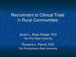 Recruitment to Clinical Trials in Rural Communities