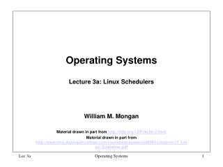 Operating Systems  Lecture 3a: Linux Schedulers