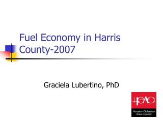 Fuel Economy in Harris County-2007