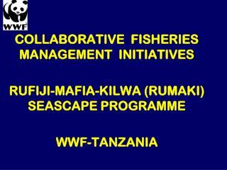 COLLABORATIVE  FISHERIES MANAGEMENT  INITIATIVES  RUFIJI-MAFIA-KILWA (RUMAKI) SEASCAPE PROGRAMME