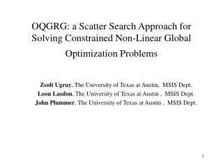 OQGRG: a Scatter Search Approach for Solving Constrained Non-Linear Global Optimization Problems