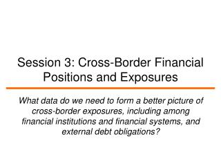 Session 3: Cross-Border Financial Positions and Exposures