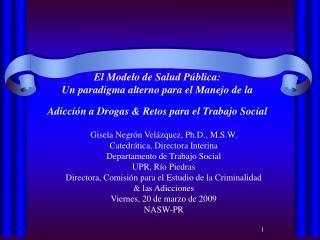 El Modelo de Salud P blica:  Un paradigma alterno para el Manejo de la  Adicci n a Drogas  Retos para el Trabajo Social