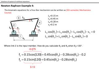 Solutions of system of nonlinear equations: