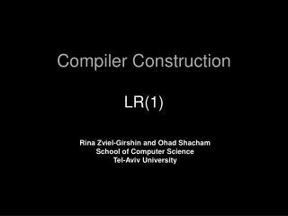 Compiler Construction LR(1)